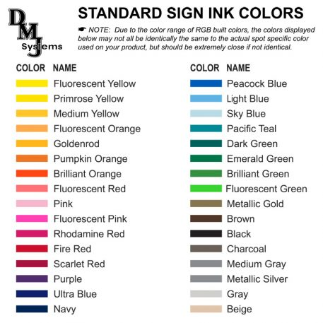 Sign colors